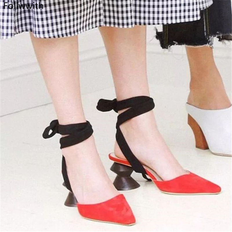 2018 Summer Lace Up Mules Strange High Heels Pumps Sandals Pointed Toe Real Leather Ankle Strappy Women Shoes Zapatos de Mujer fashion suede leather heeled sandals pointed toe lace up women pumps spikle high heel women shoes zapatos mujer