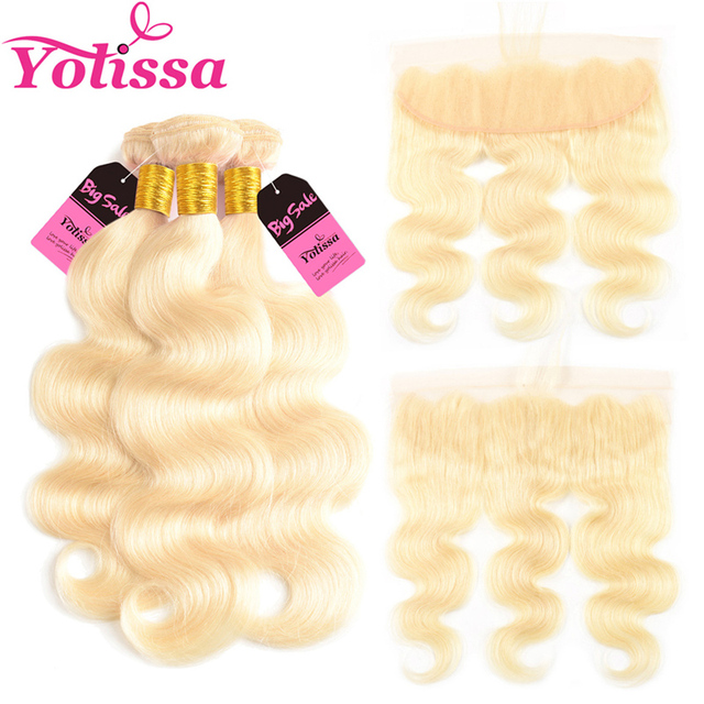 Yolissa Hair Blonde 613 Bundles With Frontal 4pcslot Brazilian Body
