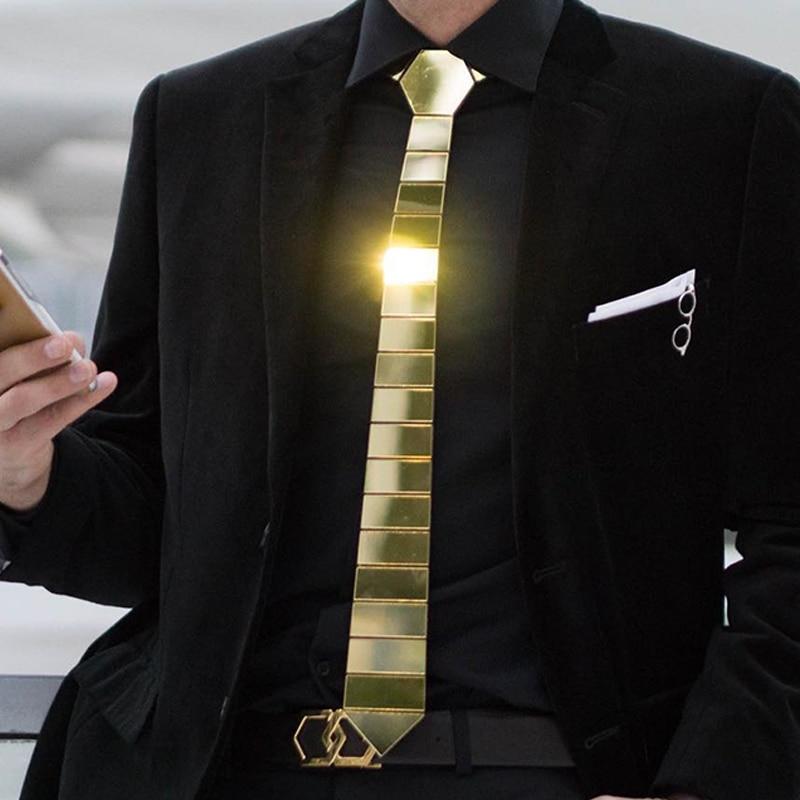 Handmade Geometric Shape Gold Mirror Chrome Space Stripe Tie