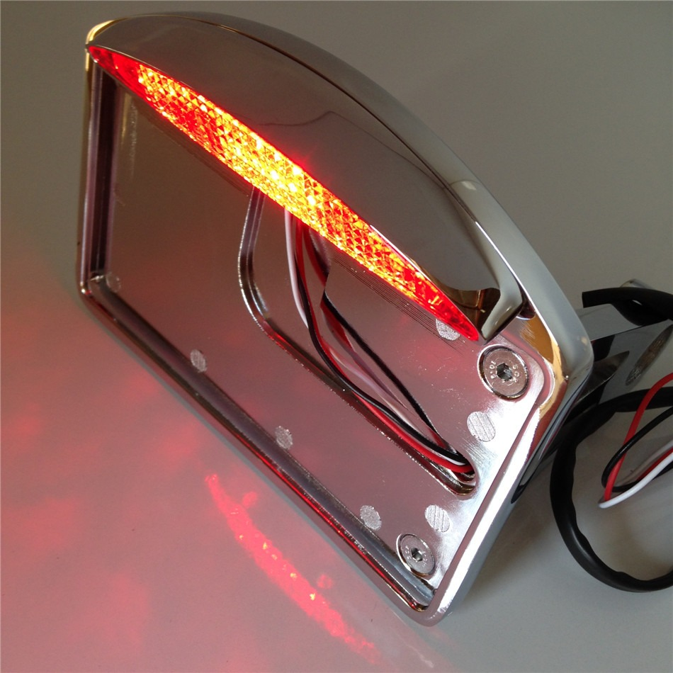 Aftermarket free shipping motorcycle parts Side Mounted License Plate Assembly Chrome LED Tail Brake Light CHROMED motorcycle tail tidy fender eliminator registration license plate holder bracket led light for ducati panigale 899 free shipping