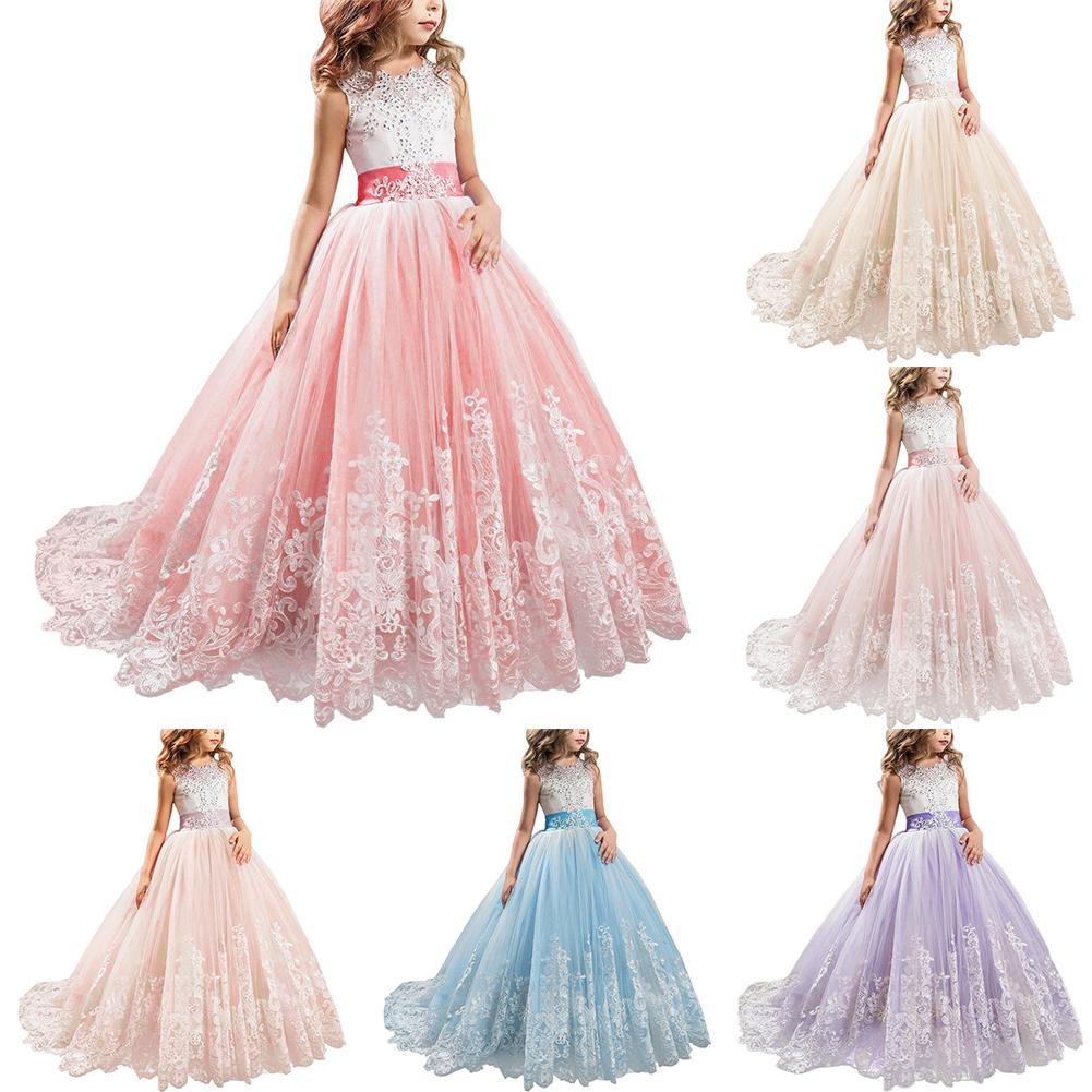 2018 Popular Cute Girl Princess Dress Lace Trailing Gown for Kids Party Wedding Bridesmaid 2018 Popular Cute Girl Princess Dress Lace Trailing Gown for Kids Party Wedding Bridesmaid