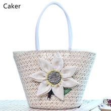 Caker 2017 Casual Totes New Arrival Bucket Bags For Women Fashion Flower Knitted Beach Bags Lady White Khaki Shoulder Bags