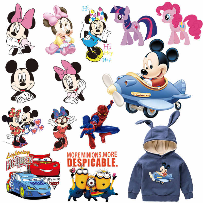 cartoon mouse kitty minions pony car patches for kid infant clothes iron on patches transfer for T-shirt hoddie ironing sticker
