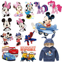 cartoon mickey kitty minions pony car patches for kid infant clothes iron on patches transfer for T-shirt hoddie ironing sticker(China)