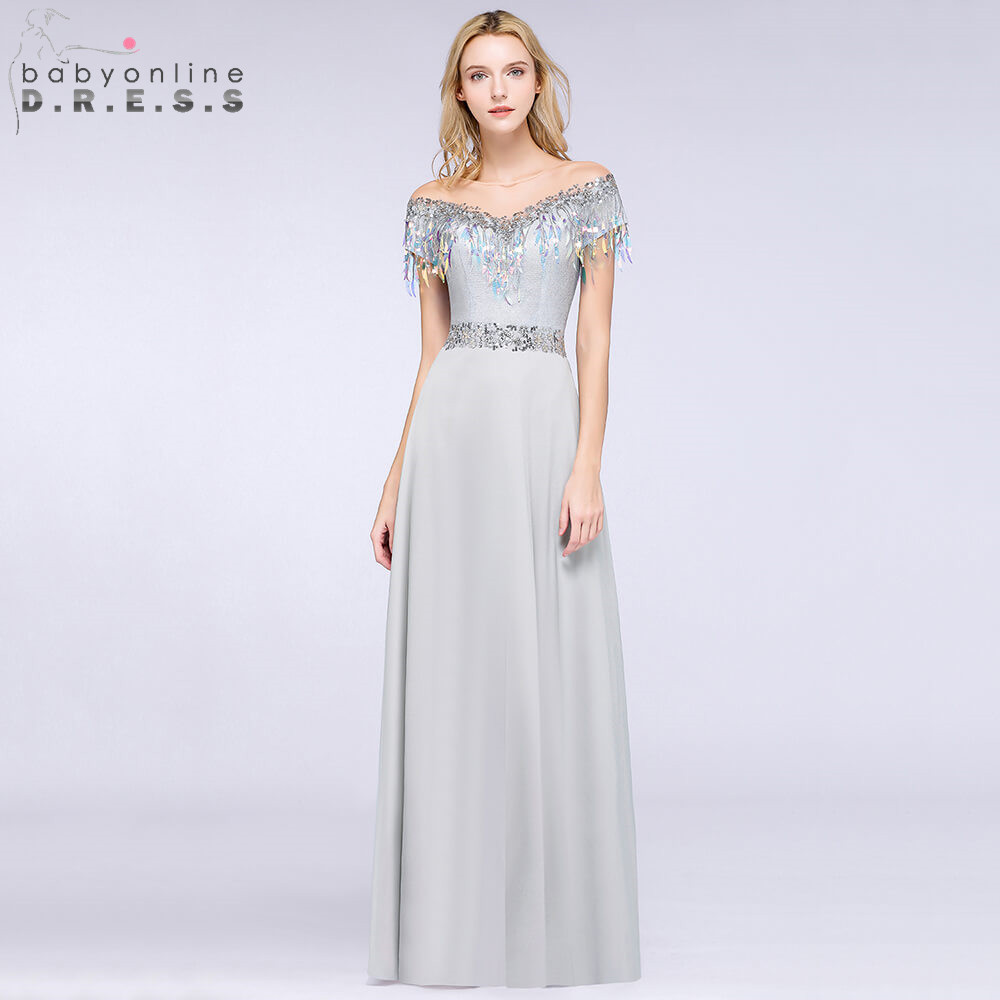 Sexy Illusion Sequins Gray Short Sleeve Evening Dress 2019 V Neck Cap Sleeve Evening Gowns with