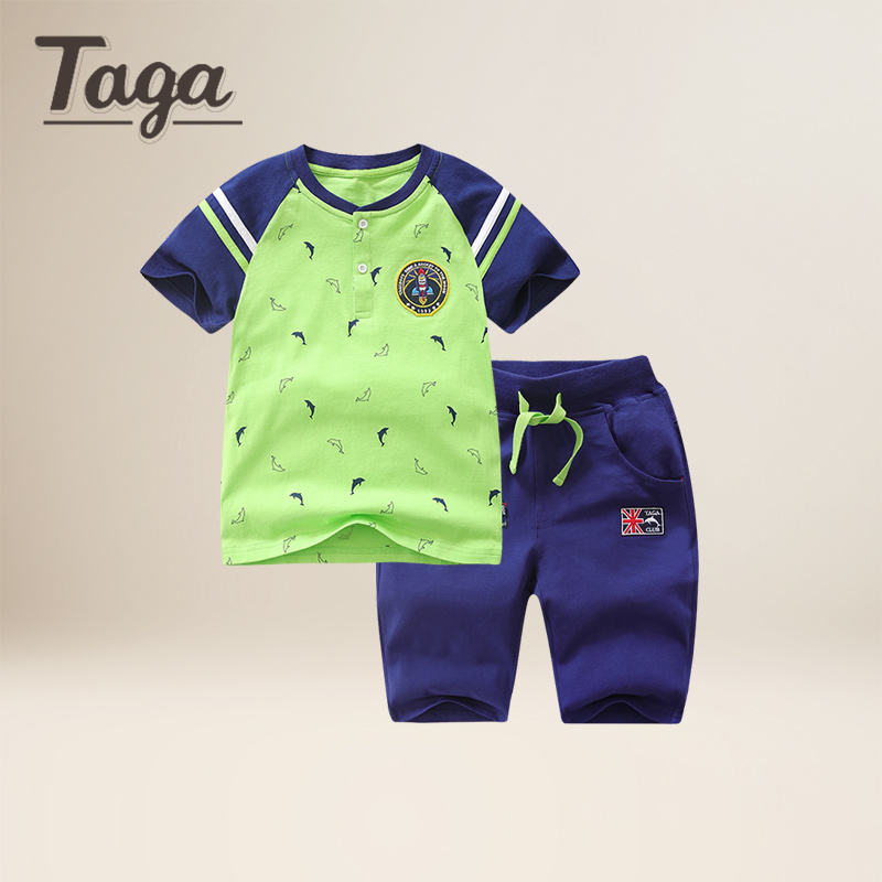 TAGA New 2017 summer clothing sets kids pants + T-shirts boys girls cartoon tees  kids baby clothes sets children tracksuit Cute new 2017 summer children 2 pcs set kids clothes boys letter striped t shirts and jeans shorts pants boys children clothing sets