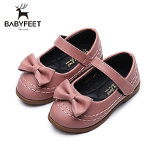 2017 Fashion Baby Girl Leather Shoes New in Wearable Waterproof Anti-slip Rubber Sole Breathable Elegant Bow Decoration Shoe