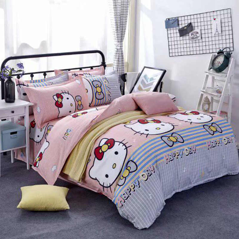 Classic bedding set 5 size hello kit cat  bed linen 4pcs/set duvet cover set Pastoral bed sheet AB side duvet cover 2019 bed