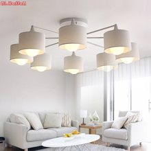 Modern LED white/black/Gold/Silver ceiling Chandeliers E27 With Lampshade simple creative Lighting Fixtures for Living room(China)