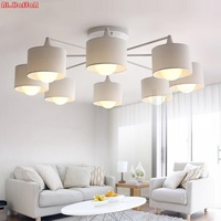 Modern LED white/black/Gold/Silver ceiling Chandeliers E27 With Lampshade simple creative Lighting Fixtures for Living room