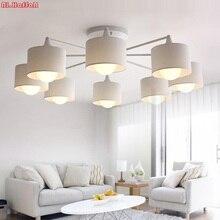 Moderno led branco/preto/ouro/prata lustres de teto e27 com abajur simples criativo luminárias para sala estar