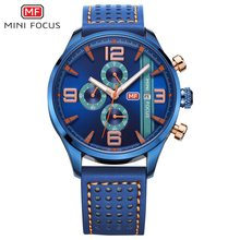 MINIFOCUS Fashion Casual Sport Man Watch Genuine Leatehr Waterproof Quartz Blue Wrist Watches For Male Relogio Masculino