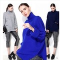 Autumn  winter medium-long cashmere sweater thickening female loose pullover turtleneck marten velvet sweater oversize size