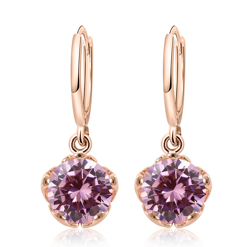 f99a0af80a US $1.1 24% OFF|SHUANGR Fashion Retro Round Earring Gold Filled CZ 7 Colors  Dangle Earrings For Women Fashion Drop Earrings Jewelry Lady Gift-in Drop  ...