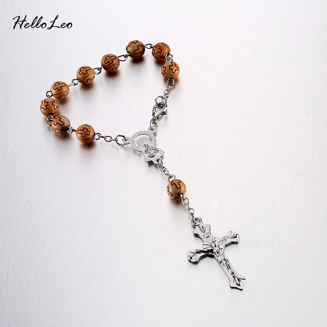 Three Color 6mm Wood Bracelet Brand Rosary Centerpiece Sacred Heart ...