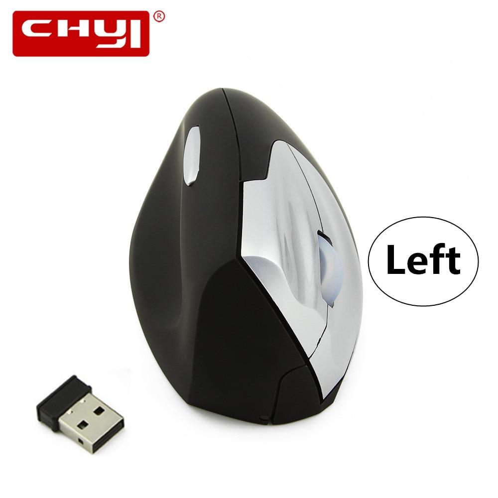 CHYI Ergonomisk Vertikal Mus Trådløs Venstre Hånd Computer Gaming Mus 4D USB Optisk Mus Gamer Mause For Laptop Desktop PC