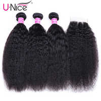 UNICE Hair Brazilian Kinky Straight Human Hair 3 Bundles With Closure 4x4 Natural Color Hair Weaves Extension Remy Hair
