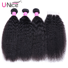 UNICE Hair Brazilian Kinky Straight Human Hair 3 Bundles Wit