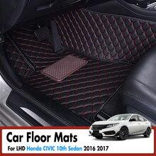 Tappetini auto Per Honda CIVIC 10th Sedan 2016 2017 Car Interior Accessorie Tappeti In Pelle Dash Stuoie Tappeti Impermeabili CON GUIDA A SINISTRA