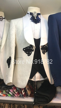 Groom Suit Wedding Suits For Men White Jacket Black Vest Pant Chinese Knot Custom Made Formal Tuxedo Costume Homme Mariage