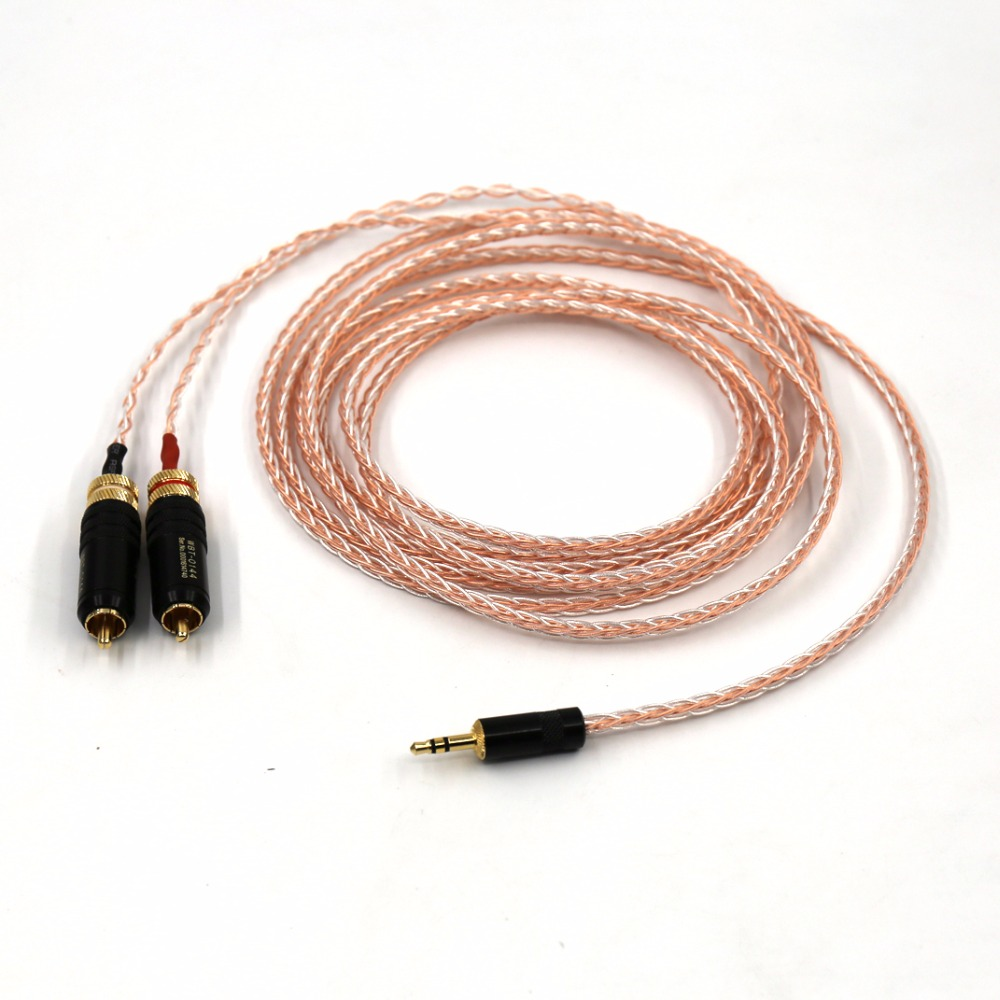 5M High Quality 2 WBT RCA to 3.5MM hifi 1 to 2 audio video cable