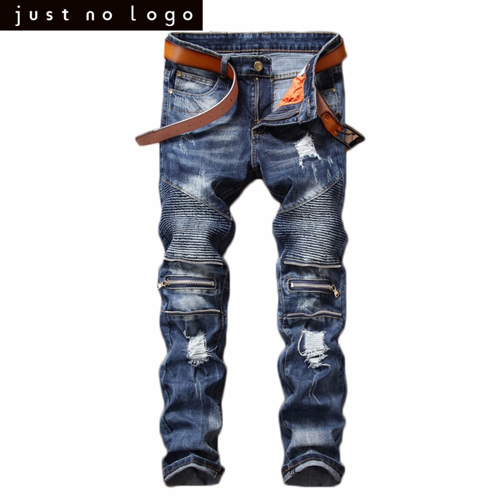 Mens Ripped Destroyed Fake Zipper Biker Jeans Deep Blue Straight Slim Fit Distressed Denim Pants Vintage Biker Jeans Trousers mens casual elastic ripped drape denim hip hop slim fit distressed biker jeans pants black straight pencil trousers multi zipper