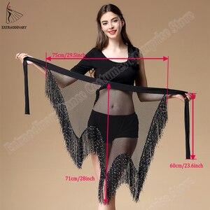 Image 5 - Yeni kadın oryantal dans kemer giyim düzensiz sıkı uzun püskül pullu Latin dans Bellydancing cıngıllı şal bel 3 renkler
