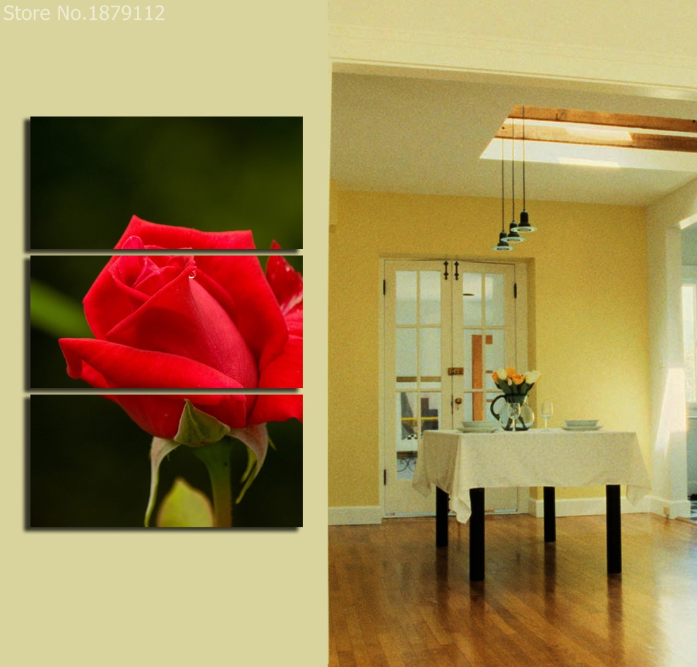 Single Red Rose Fresh Flower Decoration Pictures Vertical Painting ...