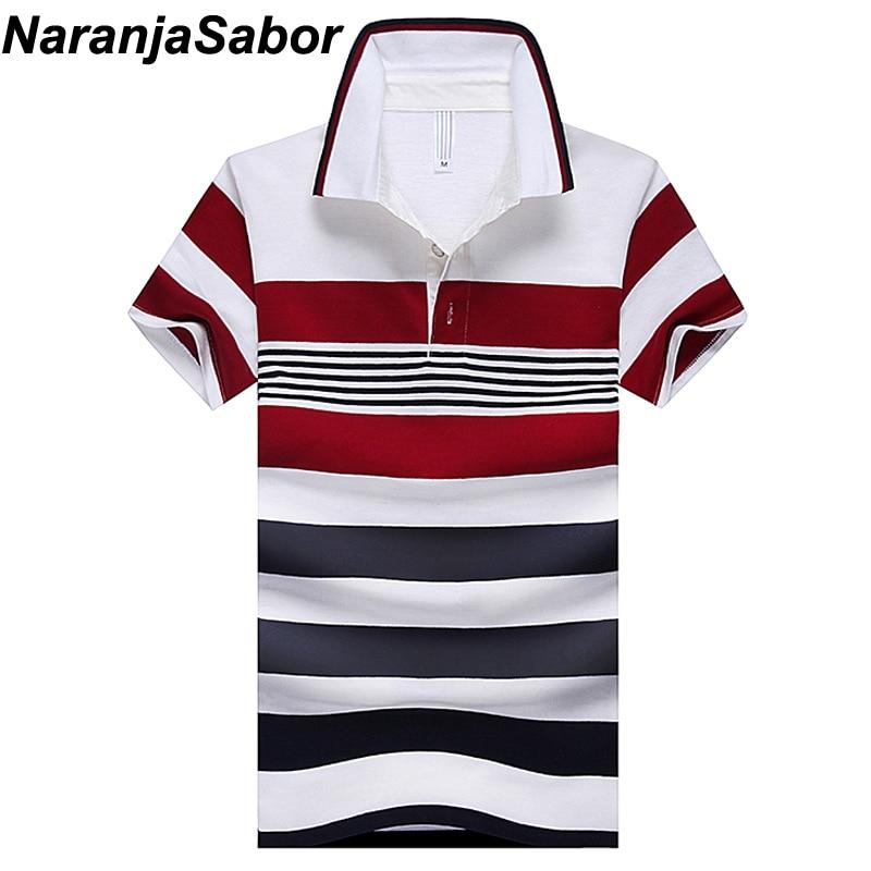 NaranjaSabor 2018 Summer Men's Polo Shirt Casual Slim Mens Short Sleeve Shirts Men's Brand Clothing Striped Boy Polos Shirts 4XL