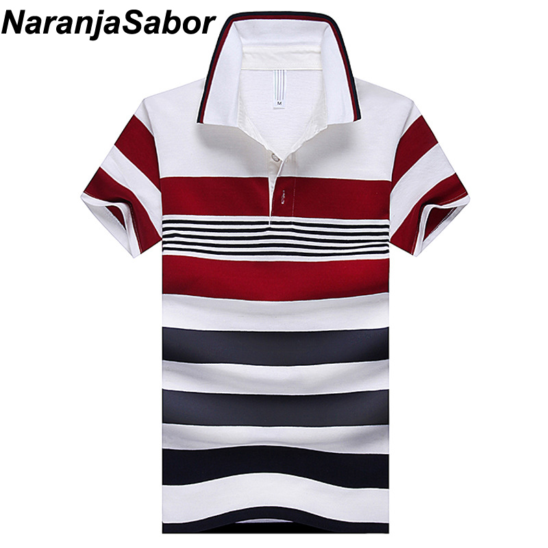 NaranjaSabor 2018 Summer Men's   Polo   Shirt Casual Slim Mens Short Sleeve Shirts Men's Brand Clothing Striped Boy   Polos   Shirts 4XL