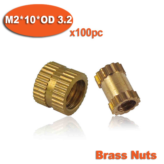 100pcs M2 x 10mm x OD 3.2mm Injection Molding Brass Knurled Thread Inserts Nuts