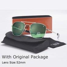 Moda aviação óculos de sol dos homens marca designer ao óculos de sol para masculino exército americano militar lente vidro óptico oculos qf563