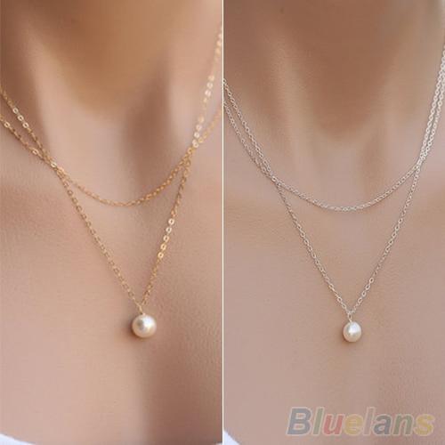 Женские двойные цепи прелестная жемчужная подвеска Цепочки и ожерелья 1PA9