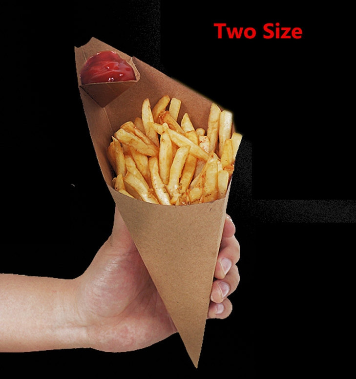 100pcs/lot-S,L Disposable Cone Kraft Paper French Fries Cup Fried Chicken Wings Popcorn Dessert Storage Boxes