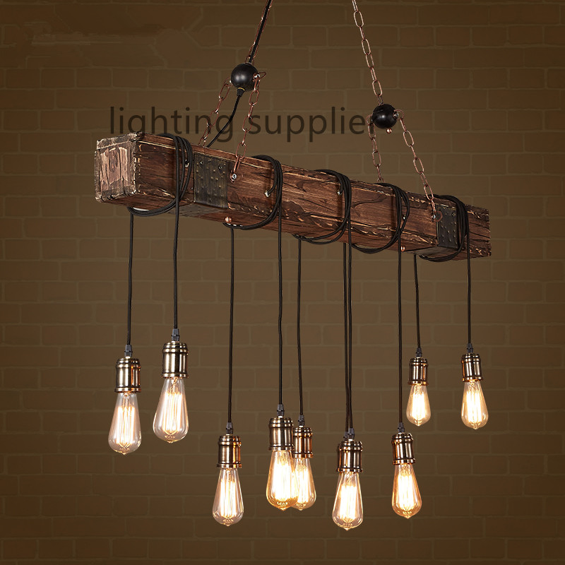 Loft style creative wooden droplight edison vintage for Dining room 3 pendant lights