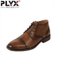 PHLIY XUAN New 2018 Fashion Retro Men Boots Genuine Leather Italy 100% Handmade Dress Ankle Boots Pointed Toe Mans Footwear