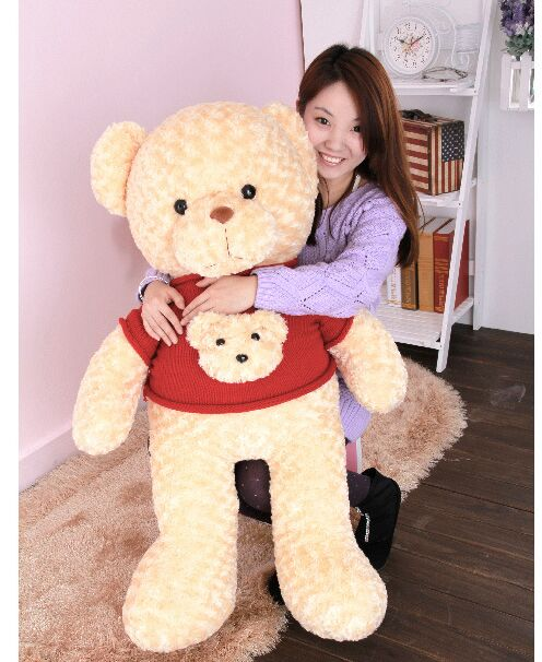все цены на  new arrival toy huge 100cm beige teddy bear with red sweater ,bear head