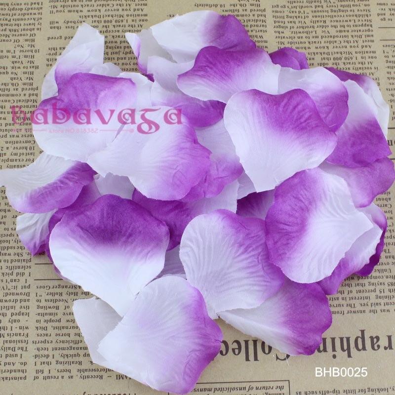 1000pcs White Purple Colos Silk Rose