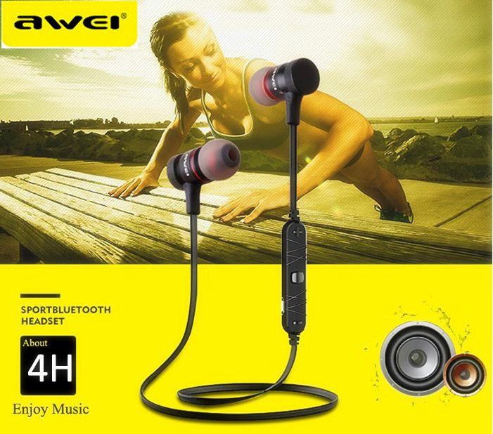 Awei A920BL Bluetooth Earphone Wireless Stereo Bluetooth Sport Stereo Earphone With Volume Control For Iphone Samsung Smartphone remax bluetooth v4 1 wireless stereo foldable handsfree music earphone for iphone 7 8 samsung galaxy rb 200hb
