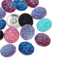 10Pcs Mixed Colors Resin Charm Snap Press Buttons Click Blingbling Crafts Findings 18mm