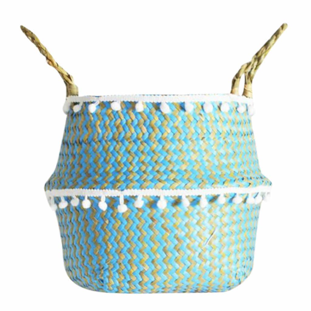Seagrass Cesto De Vime Vaso de flores Vaso Decoração Vaso de Flores Cesta de Dobramento Cesta De Armazenamento Sujo Groot Macetas Vasos de Bonsai
