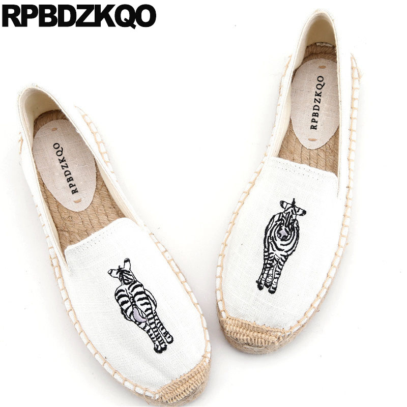 Embroidery Loafers Flower Hemp Animal Print Shoes Embroidered Flats China Women Cute Canvas Espadrilles Floral Large Size Heart etro floral print espadrilles