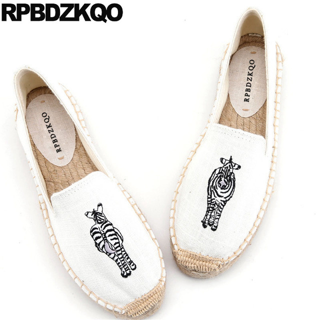 f68654312 Embroidery Loafers Flower Hemp Animal Print Shoes Embroidered Flats China  Women Cute Canvas Espadrilles Floral Large Size Heart