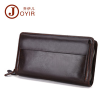 JOYIR Men Genuine Leather Wallet Long Double Zipper Wallet Male Wallets Handbag Male Clutch Bag Coin Purse Money Card Holder9370