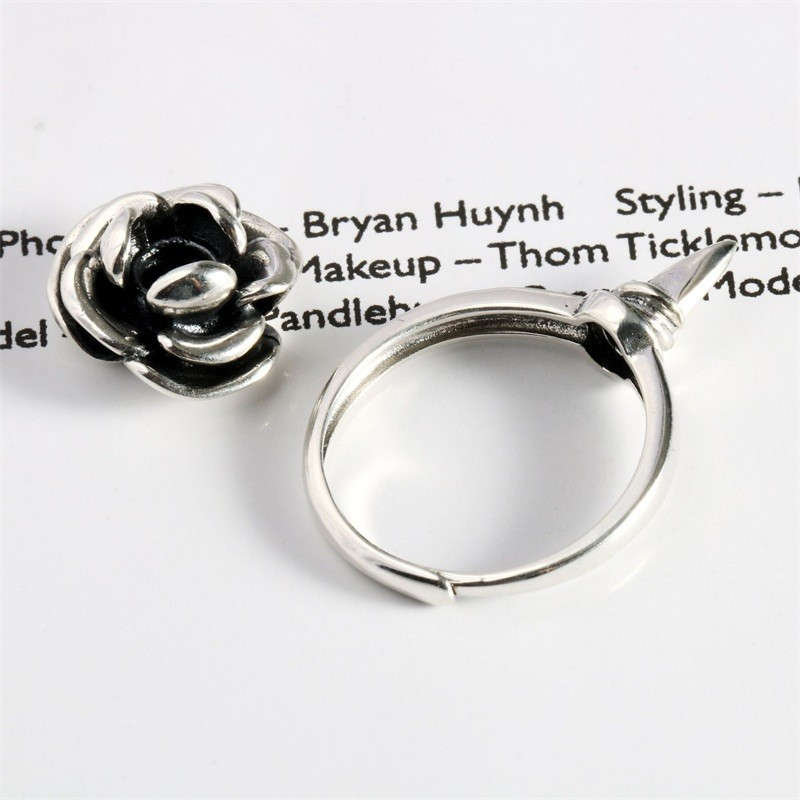 Self-defense Ring Rose Anti-wolf Net Red Sterling Silver 925 Simple Female Jewelry Dual-use Anti-drip Silver Fashion Weapon