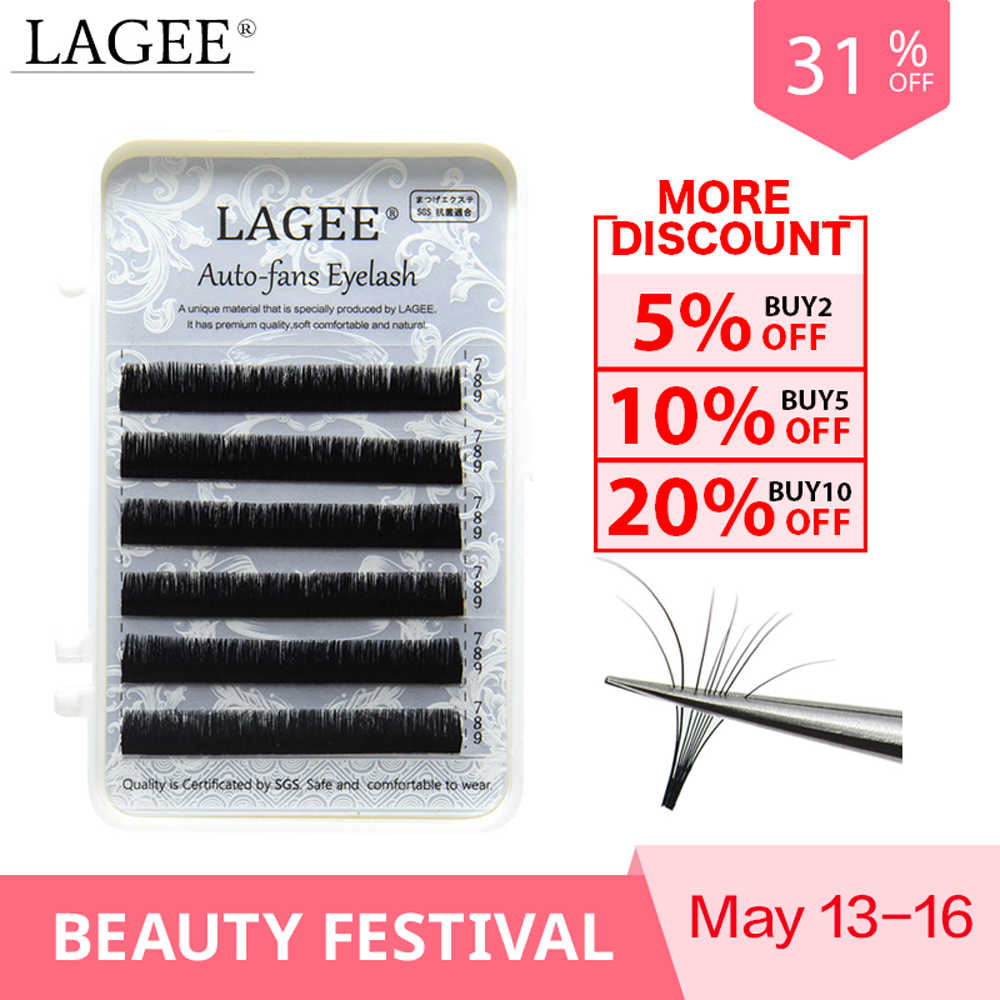 0e57185d9e0 LAGEE 0.05mm Eyelash Extensions Auto fans eyelash Easy to fan lash Mixed  Length Faux Mink