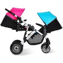 High Quality Twins Baby Stroller High Landscape Aluminum Alloy Pram Folding Shockproof Pneumatic Wheel Mutiple Child