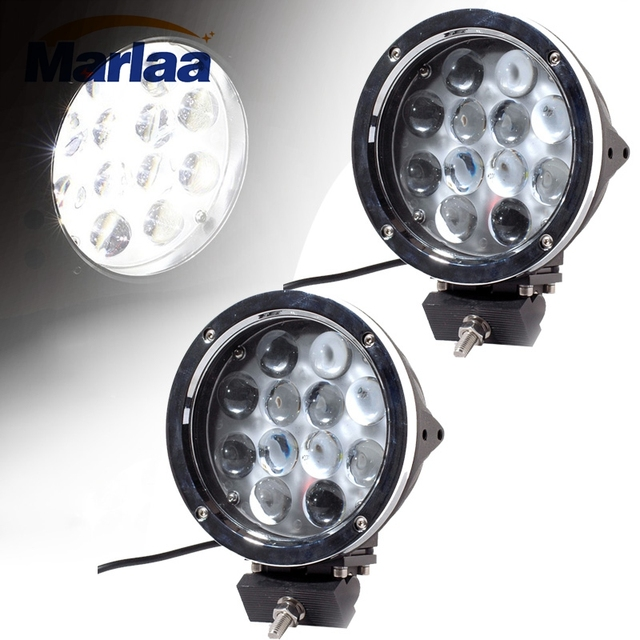 Marlaa 2Pcs 7inch LED Work Light 60W Round Driving Light for Jeep 4x4 Offroad Hummer Truck Train Boat SUV ATV UTV