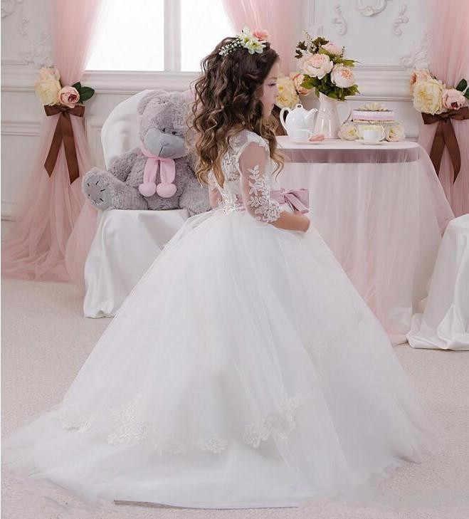 Милое бальное платье с цветочным узором для девочек на свадьбу, с прозрачной горловиной, с рукавами 3/4, с бантом, недорогое детское платье белого/цвета слоновой кости для причастия