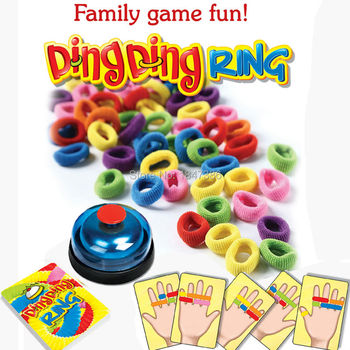 Funny Challenge Ring Ding Toy Family Party  Games Great Practical Gadgets For 2-6 players with 24 picture cards 60 Hair 1 Bell - discount item  40% OFF Novelty & Gag Toys